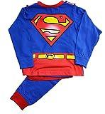 Jungen Schlafanzug Superman Langärmlig Lange Hose mit Umhang - Rot & Blau, 5-6 Jahre