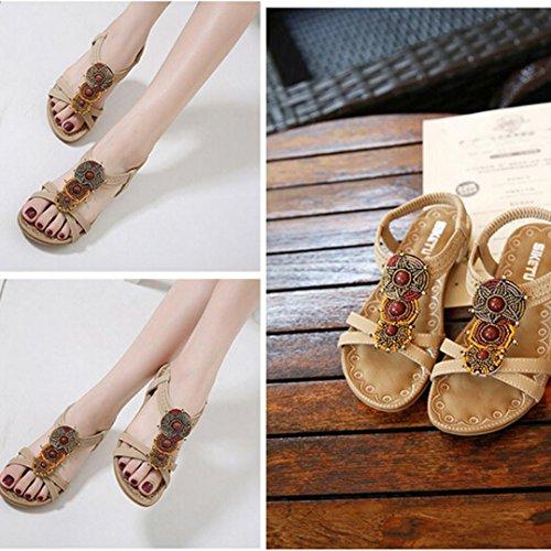 Femmes Bohème Mode Beach chaussures Flat, QinMM Casual Perles roman douces incrustées sandals Marron