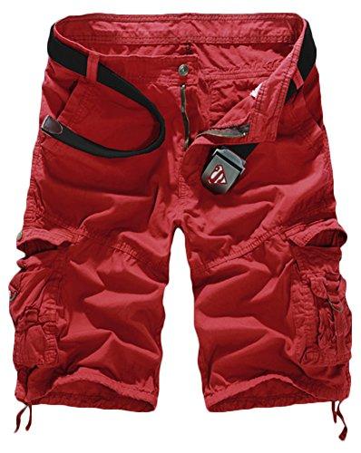 TDOLAH Herren Cargo 1/2 Shorts Capri Chino Kurze Hose Jeans Camo ohne Gürtel Rot