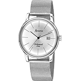 Accurist Men's Quartz Watch with Silver Dial Analogue Display and Silver Stainless Steel Bracelet MB1034S.01