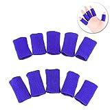 ROSENICE 10Pcs Fingerschutz Sleeve Stretchy Finger Unterstützung Sport (blau)