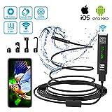 Endoscopio Android iPhone WiFi USB Camara Inspeccion 2.0 Mega Pixeles 1200P HD Boroscopio Movil IP68 Endoscopio Portatil para iOS Android Smartphone Tableta