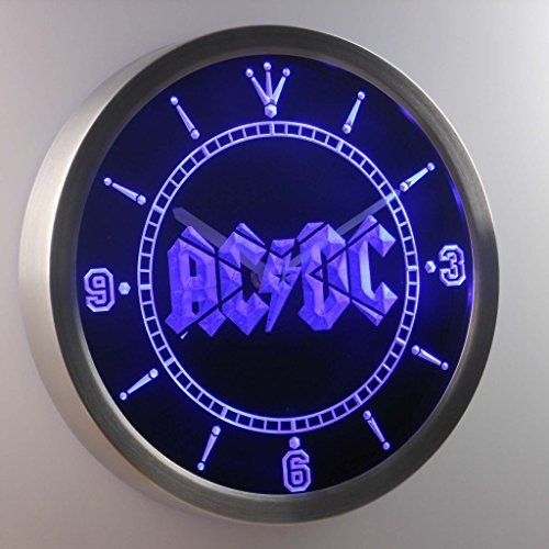 ACDC AC/DC Band Music Bar 3D Neon Sign LED Wall Clock NC0148-B by LEaD Clock - Neon Clock-garage Sign