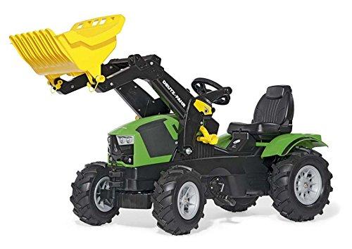 Deutz Trettraktor Rolly Toys 611218 rollyFarmtrac Deutz-Fahr | Trettraktor mit Lader | Traktor mit Motorhaube zum Öffnen, Sitzverstellung, Luftbereifung | ab 3 Jahren | Farbe grün/schwarz