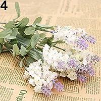 10 Heads 1 Bouquet Faux Silk Lavender Fake Garden Plant Flower Home Decor - White Amesii
