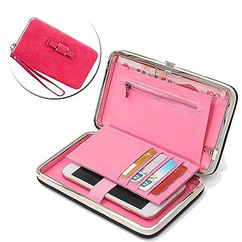 Portefeuille Universal Femme Elégant Etui avec Bracelet Sac à Main Mini Handbag avec Dragonne Porte-passeport (7.28