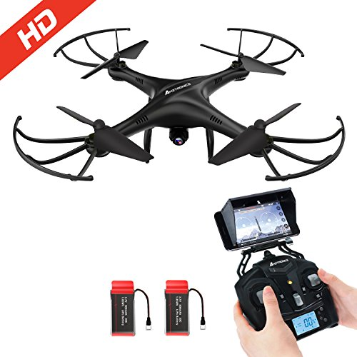 RC Quadrocopter AMZtronics Drohne mit 2,4 GHz Quadrocopter 6-Achsen-Gyro 2MP HD onboard-Kamera FPV Monitor Video Live Übertragung 3D Flip Funktion- Schwarz