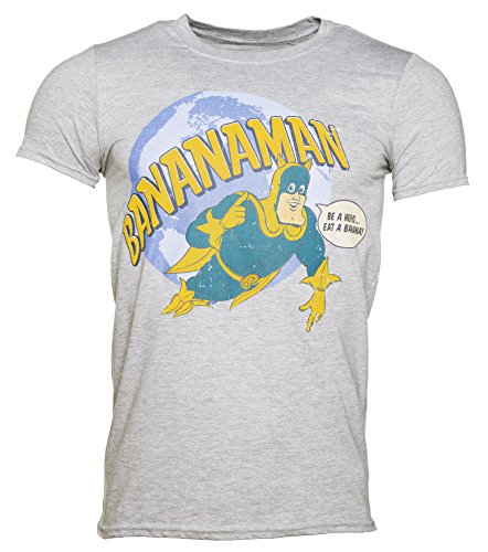 Bananaman Flying Be a Hero Eat a Banana Grey T-Shirt