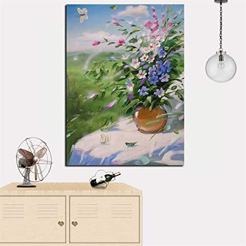 RTCKF Quadro Moderno Vaso Floreale Arte Astratta Pittura a Olio su Tela Foto Moderna per Soggiorno (Senza Cornice) A2 30x40CM