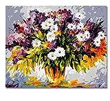 OKOUNOKO Malen Nach Zahlen Weiße Kleine Blumenbilder Durch Zahlen DIY Digital Vase Und Blumenwand-Ölgemälde-Segeltuch-Kunst Für Hauptwand-Grafik Rahmenlos 40X50Cm Geschenke