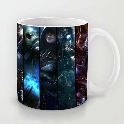 Mensuk Popular Gift Choice - White 11 oz Classic White Ceramic Mugs Cutom Design with Mass Effect Mass Effect Character Collage Coffee Mugs/Tea Mugs/Drink Cups - Dishwasher and Microwave Safe
