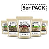 Räuchergarten Premium 5-er Set Räucherchips - 4,8 kg BBQ Mix (Eiche, Buche, Hickory, Erle, Kirsche) - nur 8,31 Euro pro kg!!! - 100% natürliches Räucherholz