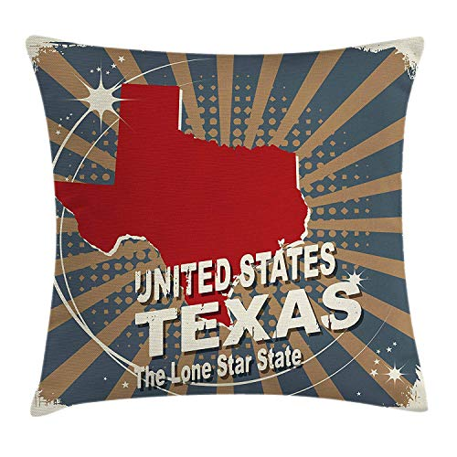 Texas Throw Pillow Cushion Cover, Retro Sunburst Effect Texas Map The Lone Star State with Worn Look Vintage USA Travel, Decorative Square Accent Pillow Case, 18 X 18 inches, Multicolor