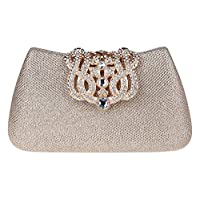 Ankoee Women Evening Bags Purse Wedding Prom Party Bridal Clutch Bag Ladies Clutches(Champagne)