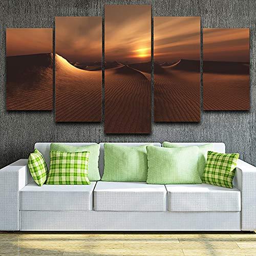 mmwin Wohnzimmer Wandkunst Bilder HD Gedruckt Auf Leinwand 5 Panel Wüste Sonnenuntergang Landschaft Moderne Dekoration Poster