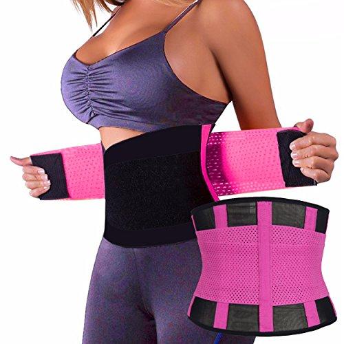 Qualitäts Sport Waist Trainer in 4 verschiedenen Farben Damen-Taillenformer Korsett Corset Power Gürtel in Pink Größe XL Fitnessgürtel Bauch weg Schwitzgürtel (Gürtel Baumwolle Slim)