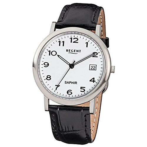 Regent Reloj de pulsera elegante Analog de piel para hombre de pulsera Negro Reloj de cuarzo urf806