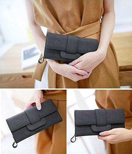 Grande Capacità di Portafoglio Donna Elegante Frizione Trifold Porta Monete Multi-Card Fessura Nero