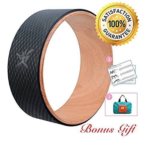 Yoga Wheel - Strongest Most Comfortable Dharma Yoga Prop Wheel for Yoga Poses, Perfect Roller For Stretching, Increasing Flexibility and Improving Backbends, 13 x 5 Inch Basic (Wood)