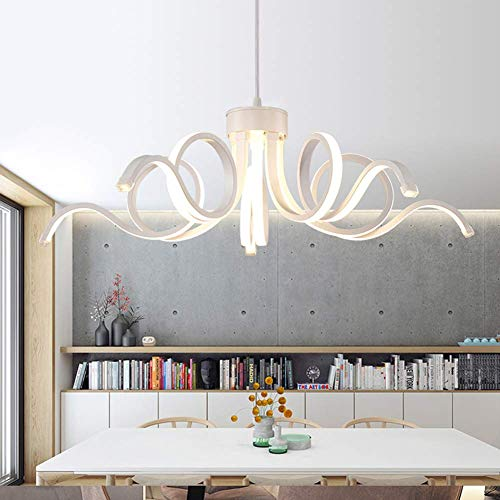 Led Moderne Kronleuchter Beleuchtung, Fernbedienung Aluminium Glanz Ring Lampe für Schlafzimmer Wohnzimmer Luminaria Indoor Light Kronleuchter (620Xh1200Mm 47W), Remotedimming,Warmes Licht -