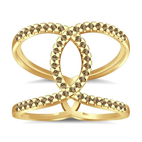 Silvernshine Halo Twist Citrin CZ Diamond Engagement Ring 14k Yellow Gold Plated Bridal Ring Set