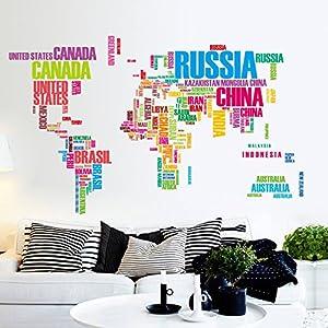 ufengke® Creativa Inglés Nombre Del País Mapa Del Mundo Pegatinas de Pared, Vivero Habitación de Los Niños Removible Etiquetas de La Pared / Murales, A