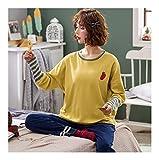 HAOLIEQUAN Baumwolle Pyjama Set Frauen Frühling Herbst Pyjamas Langarm Pullover Hemd Top Und Lange Hosen Bottom Nachtwäsche Weibliche Homewear, L