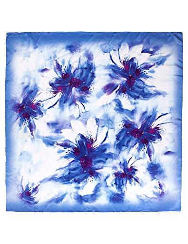 Dahlia Damen Schal aus 100% Seide, quadratisch, große Blumen, Blau -