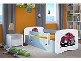 Kocot Kids Kinderbett Jugendbett 70x140 80x160 80x180 Blau mit Rausfallschutz Matratze Schublade und Lattenrost Kinderbetten für Junge - Super Feuerwehr 140 cm