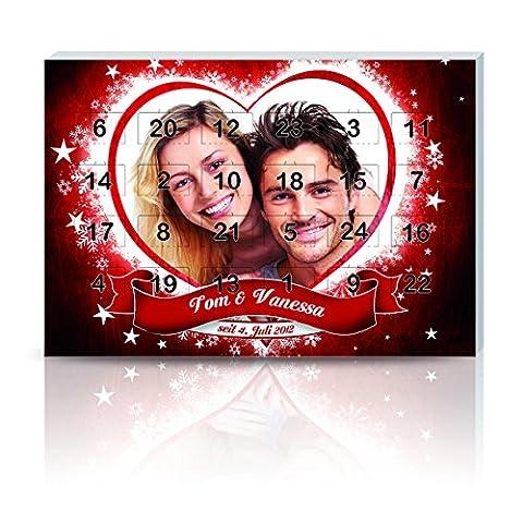 Personello® Foto Adventskalender für Zwei mit Schokolade befüllt, personalisierter Weihnachtskalender mit Namen + Datum (Größe: ca. DIN (Schokolade Mit Namen)