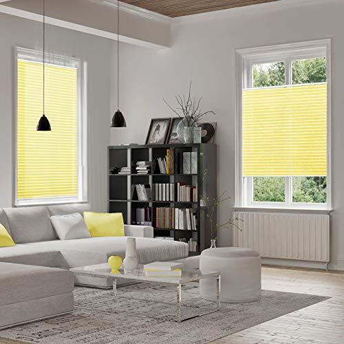 casa pura® Plissee Rollo   mit eleganter Crushed Optik   Klemmfix ohne Bohren   lichtdurchlässig & blickdicht   gelb   8 Größen (120x100cm) - 2