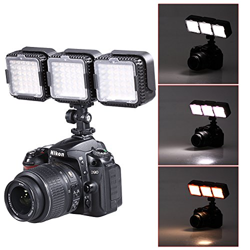 Neewer® CN-LUX360 5400K Luce LED Regolabile per Canon Nikon Fotocamera DV Videocamera (3pz)
