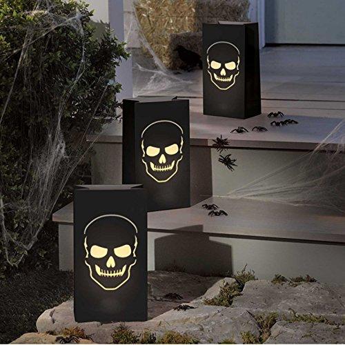 Luminary Bags * Totenkopf * grosse Papierlaternen zum Aufstellen als Halloween-Beleuchtung // 6 Stück Deko Party Lampion Lantern // 28x15x9cm