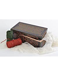 Caja joyero de madera pintada de colores acrílicas hecha a mano negra decorada
