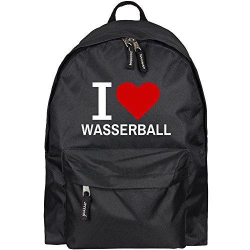 Rucksack Classic I Love Wasserball schwarz - Lustig Witzig Sprüche Party Tasche