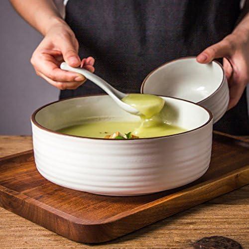 Insalatiere Stoviglie in Ceramica Creativa Grande capacità di Frutta Ramen Insalata di Ramen Frutta Soup Bowl, Bianco Ciotola di Noodle db5827