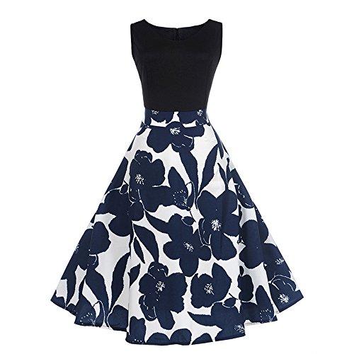 Damen Kleider Loveso Glamouröse Audrey Hepburn Kleid Langarm A-Linie mit Blumendruck U-Ausschnitt Elegante Partykleider Cocktailkleid Printkleid Knielang Gr.S-2XL (M, Schwarz) (Kleid Freund)