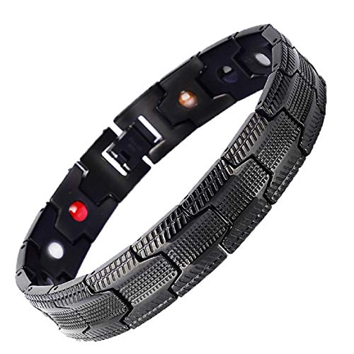 Armband, Barlingrock Therapeutische Energieheilung Armband Edelstahl Magnetfeldtherapie Armband Länge 21 cm Kette Armband Herrenmode -