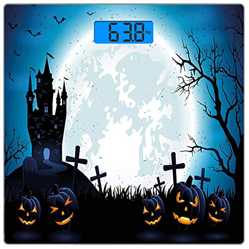 Präzise digitale Körpergewichtswaage Halloween ations Ultra Slim Gehärtetes Glas Personenwaage Genaue Gewichtsmessungen, gruseliges Konzept mit Halloween-Symbolen Old Celtic Harvest Festival Figures i