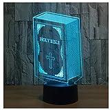Saint Valentin Bible 3D Optical Illusion Night Light 7 lampes de table à langer...