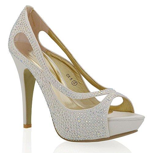 Essex Glam Chaussures De Mariée Peep Toe Faux Diamant Talon Haut Plateau Ivoire Satin