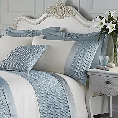 Catherine Lansfield Signature Quilted Luxury Satin Pillow Shams, Duck Egg, Pair
