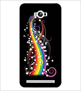 PrintDhaba Rainbow colours and Stars D-2240 Back Case Cover for ASUS ZENFONE MAX ZC550KL (2016) (Multi-Coloured)