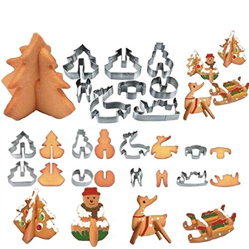 8 Stück Edelstahl Ausstechformen Weihnachten Set Keks Fondant Kuchen Cutter Form, Weihnachtsbaum, Schneemann, Rentier, Schlitten Langlebig und Praktisch (Cutter Stück 8 Kuchen)