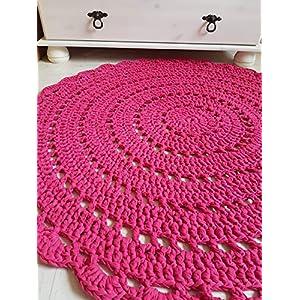Teppich Häkelteppich rund Kinderteppich Kinderzimmer rosa pink Mandala 85 cm