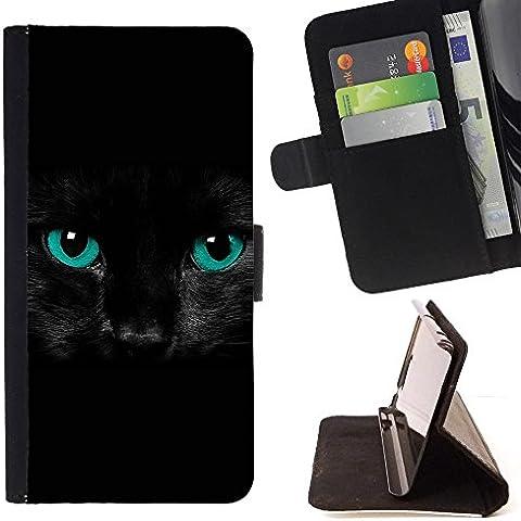 Pelle Portafoglio Custodia protettiva Cassa Leather Wallet Case for HUAWEI ASCEND P8 LITE / ASCEND P8LITE / CECELL Phone case / / Black Feline Cat Eyes Intense Blue Pet