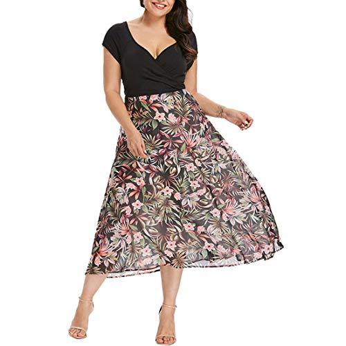 übergröße Kleider Kolylong® Damen Elegant V-Ausschnitt Blumen Kleid Lang Festlich Chiffon Kurzarm Kleid Große Größen Swing Kleid Drucken Strandkleid Cocktail Partykleid Abendkleid (Schwarz, XXL)