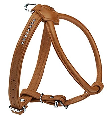 Hunter Round and Soft Elk Leather Petit Dog Harness with Crystals, 40 cm, Cognac