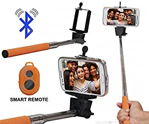 Selfie Stick Monopod With Bluetooth Remote Wireless Shutter Connectivity Compatible For Motorola Moto Z Force -Brown