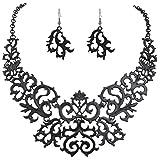 Tenye Halskette-Ohrring-Set mit Art-Deco-Design, ausgestanztes Spitzen-Muster im Gothic-Stil; aus Metalllegierung, Schwarz